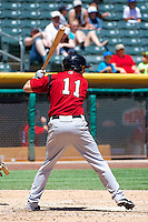 Pete Orr (11) of the Nashville Sounds at bat against the Salt Lake Bees in Pacific Coast League action at Smith's Ballpark on June 22, 2014 in Salt Lake City, Utah.  (Stephen Smith/Four Seam Images)