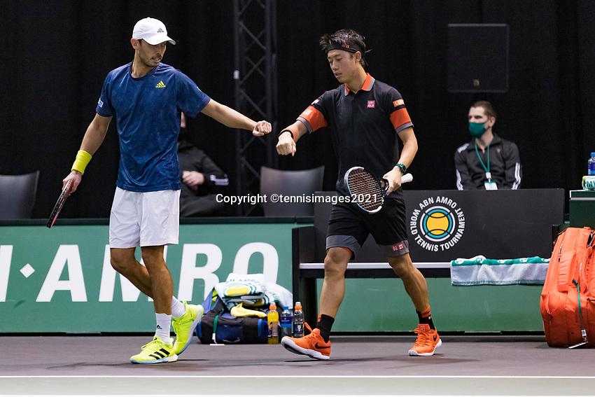 Rotterdam, The Netherlands, 2 march  2021, ABNAMRO World Tennis Tournament, Ahoy, First round doubles: Ben Mclachlan (JPN) / Kei Nishikori (JPN) <br /> Photo: www.tennisimages.com/henkkoster