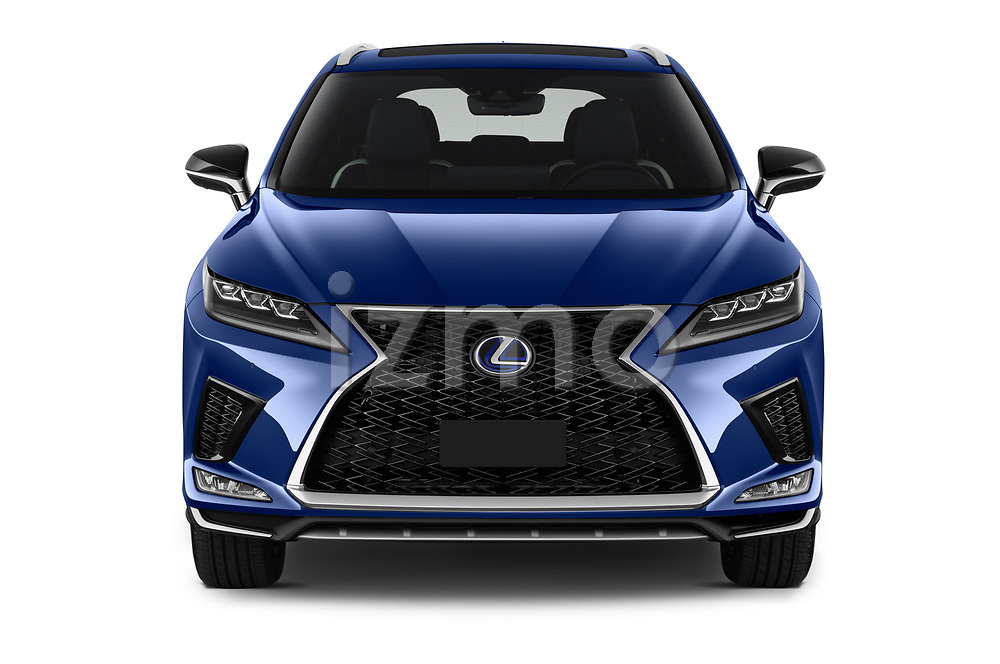 Car photography straight front view of a 2021 Lexus RX 450h-F-SPORT 5 Door SUV Front View