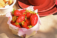 A small basket of strawberries on the breakfast table Clos des Iles Le Brusc Six Fours Cote d'Azur Var France