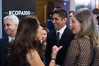 NEW YORK, NY - Sunday February 21, 2016: Jorge Campos and other guests arrive during the Copa America Centenario draw ceremony at the Hammerstein Ballroom in midtown Manhattan, New York City.