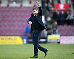 Hearts v St Johnstone…19.03.16  Tynecastle, Edinburgh<br />Tommy Wrgiht salutes the fans at full time<br />Picture by Graeme Hart.<br />Copyright Perthshire Picture Agency<br />Tel: 01738 623350  Mobile: 07990 594431