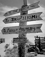 Sign on Tarawa illustrates Marine humor and possible lack of optimism as to duration of war.  June 1944. Lt. Comdr. Charles Fenno Jacobs. (Navy)<br /> Exact Date Shot Unknown<br /> NARA FILE #:  080-G-476304<br /> WAR & CONFLICT BOOK #:  1197