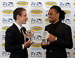 Player of the year Stefan Johansen with young player of the year Jason Denayer