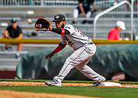 3 September 2018: Tri-City ValleyCats first baseman Luis Encarnacion in action against the Vermont Lake Monsters at Centennial Field in Burlington, Vermont. The Lake Monsters defeated the ValleyCats 9-6 in the last game of the 2018 NY Penn League regular season. Mandatory Credit: Ed Wolfstein Photo *** RAW (NEF) Image File Available ***