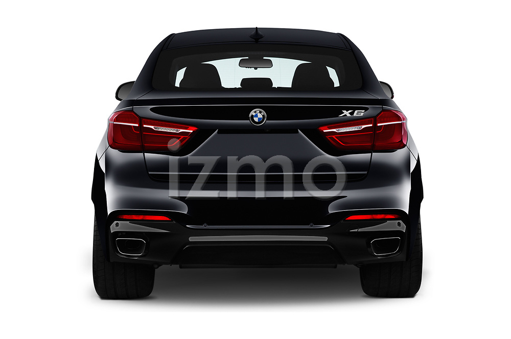 Straight rear view of a 2019 BMW X6 35i 5 Door SUV stock images