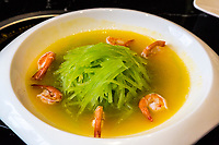 Guizhou, China.  Lunch of Shrimp and Vegetable.