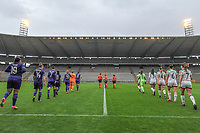 players entering the field before a female soccer game before RSC Anderlecht Dames and Oud Heverlee Leuven on the seventh matchday of play off 1 of the 2020 - 2021 season of Belgian Womens Super League , saturday 15 th of May 2021  in Brussels , Belgium . PHOTO SPORTPIX.BE | SPP | STIJN AUDOOREN