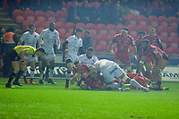Gareth Davies of Scarlets scores his sides first try during the European Rugby Challenge Cup Round 5 match between the Scarlets and RC Toulon at the Parc Y Scarlets in Llanelli, Wales, UK. Saturday January 11 2020