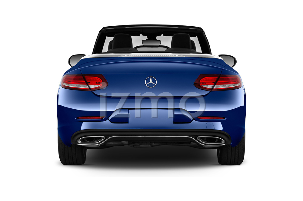 Straight rear view of 2017 Mercedes Benz C-Class - 2 Door Convertible Rear View  stock images
