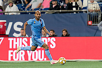 FOXBOROUGH, MA - SEPTEMBER 29: Heber #9 of New York City FC dribbles down the wing during a game between New York City FC and New England Revolution at Gillette Stadium on September 29, 2019 in Foxborough, Massachusetts.