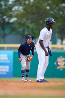 Mobile BayBears second baseman Jahmai Jones (15) holds Jesus Sanchez (4) on during a Southern League game against the Montgomery Biscuits on May 2, 2019 at Riverwalk Stadium in Montgomery, Alabama.  Mobile defeated Montgomery 3-1.  (Mike Janes/Four Seam Images)