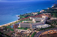 Aerial view of the Grand Wailea resort spreading along the Maui coast