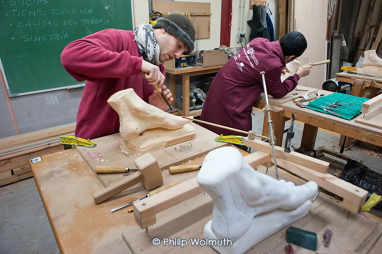 Wood-carving workshop at the Centro Albayzin (the Andalucian School of Restoration), which is funded by the European Social Fund, the City of Granada and the province of Andalucia to provide training in traditional construction skills for registered unemployed people aged between 16 and 30.  Andalucia has the highest unemployment rate in Spain; over 50% of under-25s are jobless.