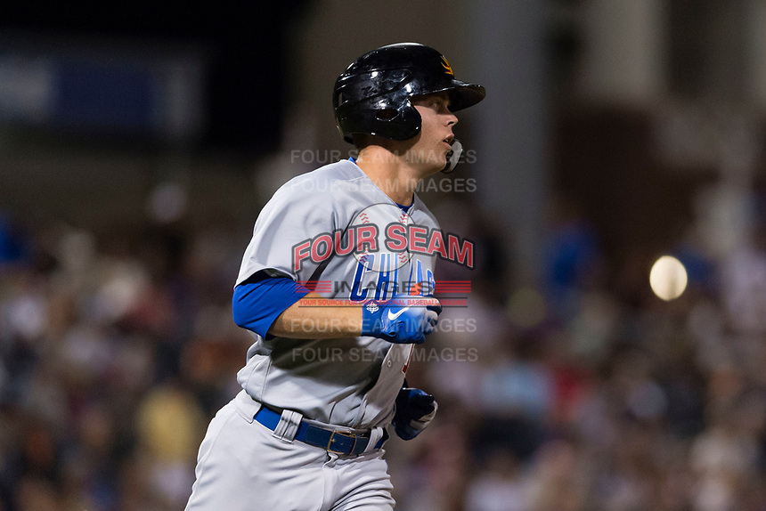 AFL East infielder Nico Hoerner (17), of the Mesa Solar Sox and Chicago Cubs organization, hustles down the first base line during the Arizona Fall League Fall Stars game at Surprise Stadium on November 3, 2018 in Surprise, Arizona. The AFL West defeated the AFL East 7-6 . (Zachary Lucy/Four Seam Images)
