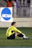 Clemson goalkeeper Phil Marfuggi, dejected following the Clemson loss. The University of New Mexico defeated Clemson University 2-1 in the NCAA Semifinal at SAS Stadium in Cary, North Carolina, Friday, December 9, 2005.