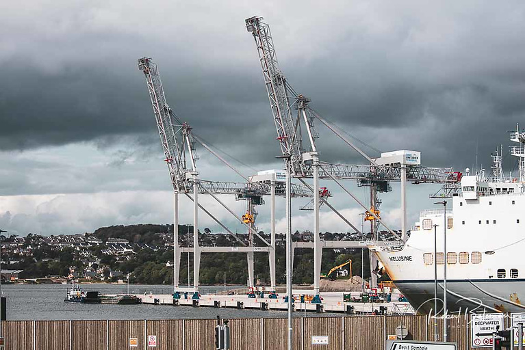 The new Ship to Shore gantry cranes operating at the Port of Cork in Ringaskiddy