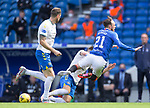 22.08.2020 Rangers v Kilmarnock: Brandon Barker loses a shoe as he gets tackled by Aaron McGowan