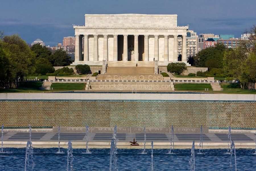 Lincoln Memorial, Washington, D.C., from World War II Memorial, early morning.