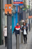 Pictured: Street decorations for the game in Newport city centre, Wales, UK. Thursday 14 February 209<br /> Re: The city of Newport is preparing to host the FA Cup match between Newport County and Manchester City at Rodney Parade, Newport, Wales, UK.