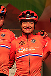 Marianne Vos of The Netherlands at sign on for the start of the Women Elite Road Race of the UCI World Championships 2019 running 149.4km from Bradford to Harrogate, England. 28th September 2019.<br /> Picture: Eoin Clarke | Cyclefile<br /> <br /> All photos usage must carry mandatory copyright credit (© Cyclefile | Eoin Clarke)
