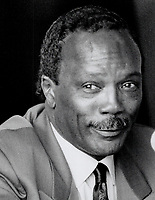 1990 FILE PHOTO - ARCHIVES -<br /> <br /> The charm shines through: Quincy Jones came to the Toronto film festival with the documentary of his life, Listen Up, The Lives Of Quincy Jones, and his easy charm went down well with the press yesterday.<br /> <br /> 1990<br /> <br /> PHOTO :  Erin Comb - Toronto Star Archives - AQP