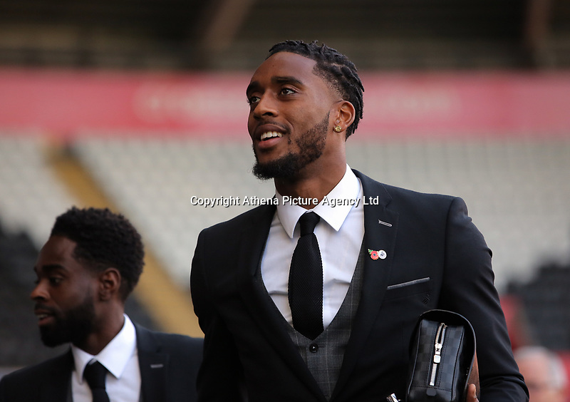Leroy Fer of Swansea City arrives prior to the game during the Premier League match between Swansea City and Brighton and Hove Albion at The Liberty Stadium, Swansea, Wales, UK. Saturday 04 November 2017