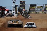 Mar. 19, 2011; Chandler, AZ, USA;  LOORRS pro four driver Kyle Leduc crashes during round one at Firebird International Raceway. Mandatory Credit: Mark J. Rebilas-US PRESSWIRE