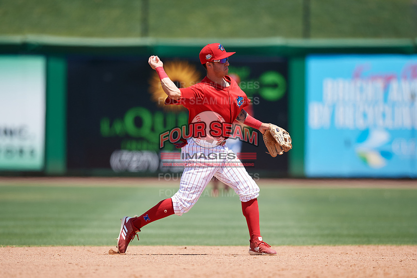 Clearwater Threshers second baseman Jose Gomez (3) throws to first base during a Florida State League game against the Florida Fire Frogs on April 24, 2019 at Spectrum Field in Clearwater, Florida.  Clearwater defeated Florida 13-1.  (Mike Janes/Four Seam Images)