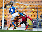 St Johnstone v Motherwell…28.09.19   McDiarmid Park   SPFL<br />Stevie May's shot is saved by Mark Gillespie<br />Picture by Graeme Hart.<br />Copyright Perthshire Picture Agency<br />Tel: 01738 623350  Mobile: 07990 594431
