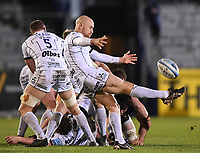19th February 2021; Recreation Ground, Bath, Somerset, England; English Premiership Rugby, Bath versus Gloucester; Willi Heinz of Gloucester kicks from a ruck