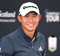 7th July 2021; North Berwick, East Lothian, Scotland; Collin Morikawa USA holds a press conference,  during practise at the abrdn Scottish Open at The Renaissance Club, North Berwick, Scotland.
