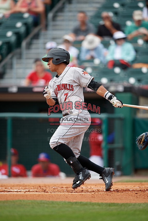 Indianapolis Indians designated hitter Christopher Bostick (7) bats during a game against the Buffalo Bisons on August 17, 2017 at Coca-Cola Field in Buffalo, New York.  Buffalo defeated Indianapolis 4-1.  (Mike Janes/Four Seam Images)