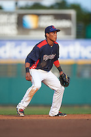 Rochester Red Wings shortstop Jorge Polanco (1) during a game against the Lehigh Valley IronPigs on July 4, 2015 at Frontier Field in Rochester, New York.  Lehigh Valley defeated Rochester 4-3.  (Mike Janes/Four Seam Images)