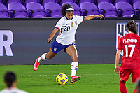 18th February 2021, Orlando, Florida, USA;  United States defender Margaret Purce (20) shoots the ball during a SheBelieves Cup game between Canada and the United States on February 18, 2021 at Exploria Stadium in Orlando, FL.