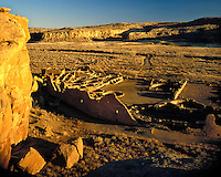 Afternoon light on the Pueblo Bonito Ruins; Chaco Culture National Historical Park, NM