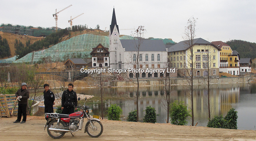 20120116 CHINA GUANGDONG PROVINCE : A general view of Hallstatt, China's copy of the Austrian alpine town of the same name, Boluo Township, Huizhou City, Guangdong Province, China, 16 January 2012. Property developments such as this are expected to run into financial difficulites in 2012 as the Chinese economy and property market continue to cool, in reaction to the ongoing sovereign debt crisis in Europe.<br /> SINOPIX / ALEX HOFFORD