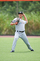 GCL Marlins Corey Bird (19) warms up in the outfield before a game against the GCL Mets on August 3, 2018 at St. Lucie Sports Complex in Port St. Lucie, Florida.  GCL Mets defeated GCL Marlins 3-2.  (Mike Janes/Four Seam Images)
