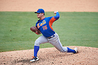 Pitcher Taylor Gibson (15) of Foley High School in Summerdale, Alabama playing for the New York Mets scout team during the East Coast Pro Showcase on July 30, 2015 at George M. Steinbrenner Field in Tampa, Florida.  (Mike Janes/Four Seam Images)