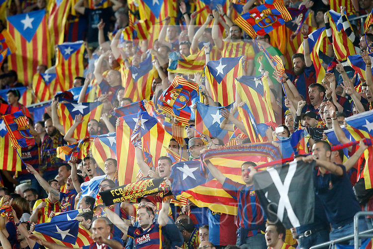 FC Barcelona's supporters during Spanish King's Cup Final match. May 30,2015. (ALTERPHOTOS/Acero)