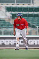 Boston Red Sox left fielder Trey Ball (57) leads off third base during a Florida Instructional League game against the Baltimore Orioles on September 21, 2018 at JetBlue Park in Fort Myers, Florida.  (Mike Janes/Four Seam Images)