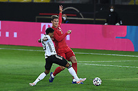 2nd June 2021, Tivoli Stadion, Innsbruck, Austria; International football friendly, Germany versus Denmark;  Serge Gnabry Germany challenges Jannik Vestergaard Denmark