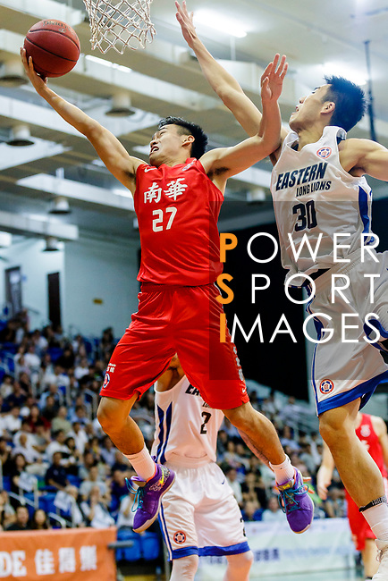 Tsai Choi Kwan #27 of SCAA Men's Basketball Team tries to score against the Eastern Long Lions during the Hong Kong Basketball League game between Eastern Long Lions and SCAA at Southorn Stadium on May 29, 2018 in Hong Kong. Photo by Yu Chun Christopher Wong / Power Sport Images