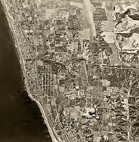 historical aerial photograph of Encinitas, San Diego county, California, 1947