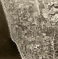 historical aerial photograph of Encinitas, San Diego county, California, 1947