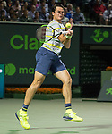 March 28 2018: Milos Raonic (CAN) loses to Juan Martin del Potro (ARG) 5-7, 6-7 (1), 6-7 (3), at the Miami Open being played at Crandon Park Tennis Center in Miami, Key Biscayne, Florida. ©Karla Kinne/Tennisclix/CSM
