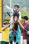 Jockey Brett Prebble riding Contentment pose for photo after winning the Champions Mile (1600m) on 07 May 2017, at the Sha Tin Racecourse  in Hong Kong, China. Photo by Chris Wong / Power Sport Images
