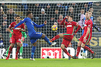 Demarai Gray of Leicester City is tackled by Tom Carroll of Swansea during the Premier League match between Leicester City and Swansea City at the King Power Stadium, Leicester, England, UK. Saturday 03 February 2018