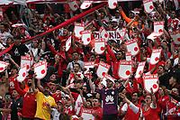 BOGOTÁ- COLOMBIA, 21-09-2019:Hinchas del Independiente Santa Fe.Acción de juego entre los equipos Independiente Santa Fe y el Envigado  durante partido por la fecha 12 de la Liga Águila II  2019 jugado en el estadio Nemesio Camacho El Campín  de la ciudad de Bogotá. / Fans of Independiente Santa Fe.Action game between Independiente Santa Fe and Envigado  during the match for the date 12 of the Liga Aguila II 2019 played at the Nemesio Camacho El Campin  stadium in Bogota city. Photo: VizzorImage / Felipe Caicedo / Staff