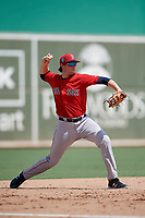 Boston Red Sox third baseman Triston Casas (19) throws to first base during a Florida Instructional League game against the Baltimore Orioles on September 21, 2018 at JetBlue Park in Fort Myers, Florida.  (Mike Janes/Four Seam Images)